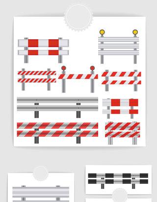 矢量城市道路路障护栏