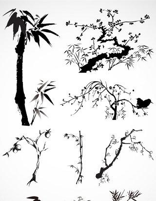 水墨山水竹子水墨画元素矢量图形