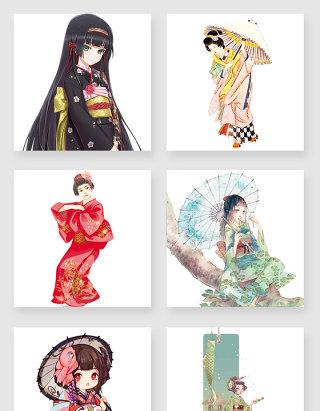 卡通和服少女设计素材