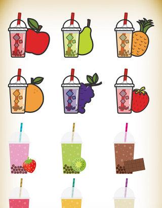 手绘果汁饮料卡通素材