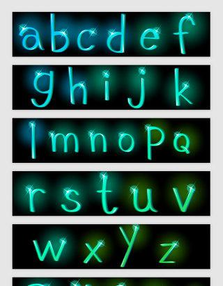 绿光英文字母符号光效矢量素材