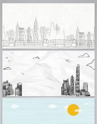 矢量城市建筑手绘海报展板背景图