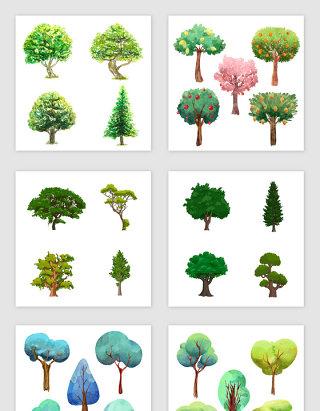 水彩卡通树木设计素材