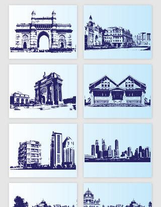 线描现代城市建筑的矢量素材