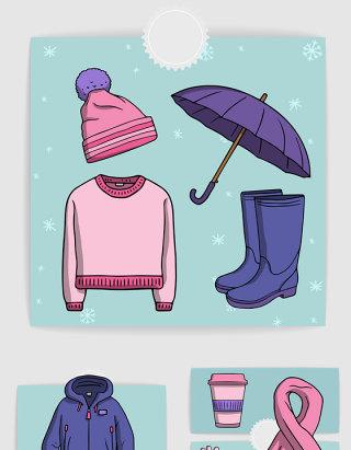 卡通冬季服装配饰手绘矢量素材