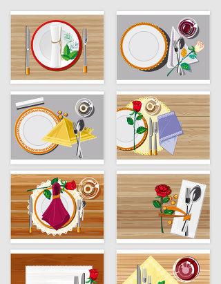 矢量高清西餐餐具刀叉