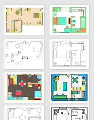 矢量室内设计平面图元素