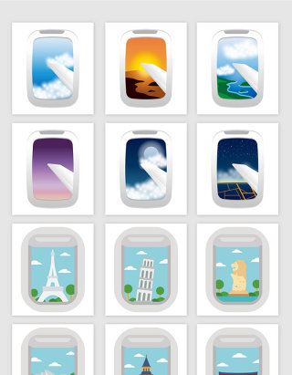 矢量卡通航空飞机窗户建筑风景插画