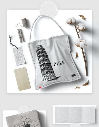 简约手拎布包吊牌包装智能贴图样机