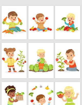 小朋友摘蔬菜卡通矢量图形