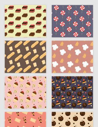 矢量卡通甜品面包无缝拼接底纹