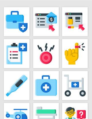 UI医院病床呼叫按钮急救箱体温计小图标矢