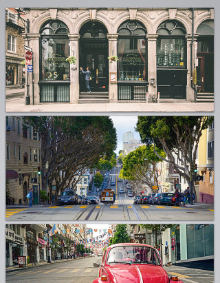 欧美现代城市街道背景图