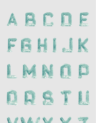 冰冰漂亮不透明绿色3D字母建模设计素材