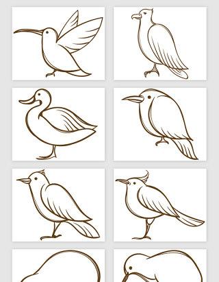 手绘线描小鸟的矢量素材