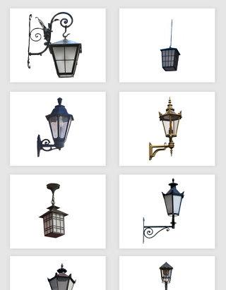 高清免抠欧式复古路灯