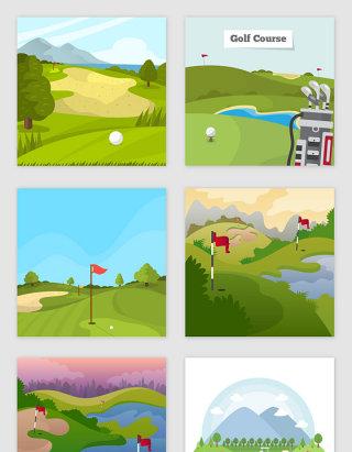 卡通矢量高尔夫运动场素材