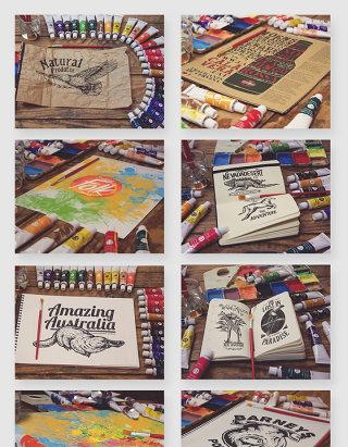 绘画颜料涂鸦纸张贴图样机素材
