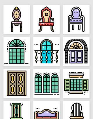 欧式复古家居家具装饰图标矢量素材4