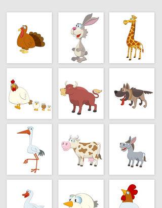 卡通可爱的动物图标元素