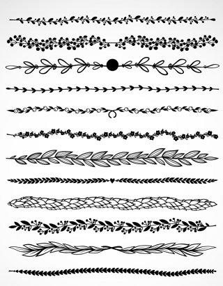 欧式花纹花边分隔符底纹欧式矢量图
