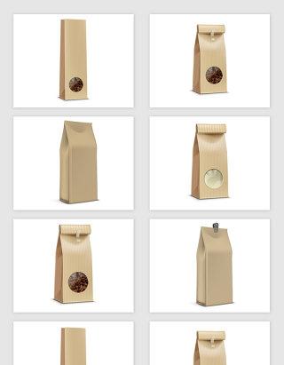 矢量咖啡袋餐饮纸包装袋