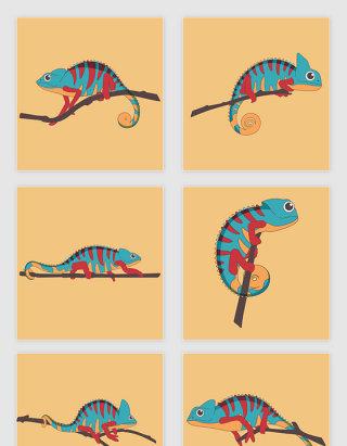 矢量手绘卡通彩色蜥蜴