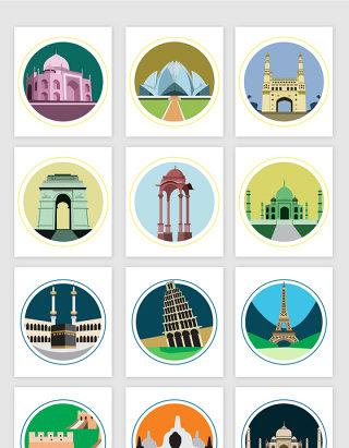 世界著名旅游景点建筑卡通矢量图形