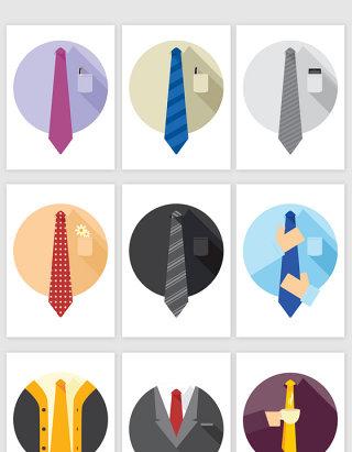 绅士衬衣领带卡通商务图标矢量图形