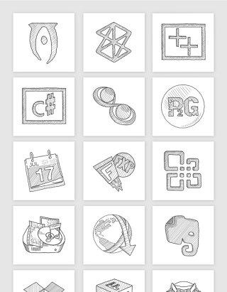 手机应用程序界面素描APP创意图标