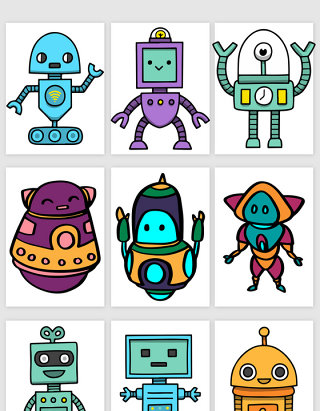线描可爱的卡通机器人矢量素材