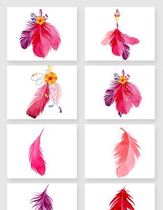 色彩鲜艳的红色羽毛矢量素材