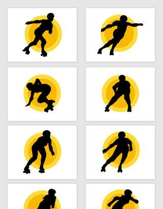 矢量轮滑运动人物剪影