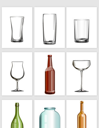 矢量玻璃瓶设计素材