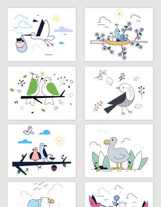 矢量手绘卡通时尚小鸟插画