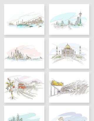 手绘线条水彩画城市风景建筑素材