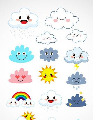 可爱卡通矢量云表情素材
