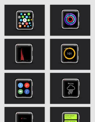苹果iwatch智能手表应用UI界面素材