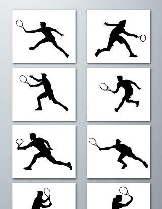 网球运动人物剪影素材