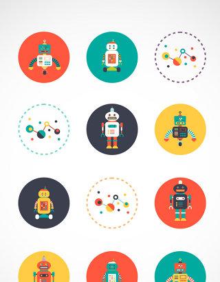 卡通机器人矢量图标