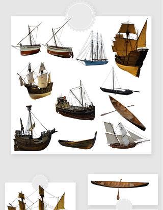 高清免抠中世纪帆船素材