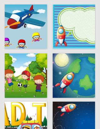 卡通儿童游戏娱乐矢量素材