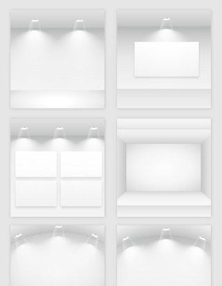 白色空房子灯光模型矢量素材