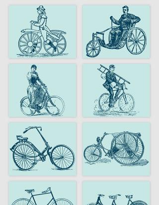 手绘骑自行车的人矢量素材