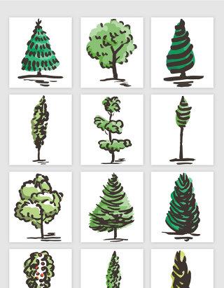 手绘风格大树矢量元素