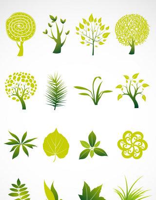 绿色小植物矢量图标图形图标