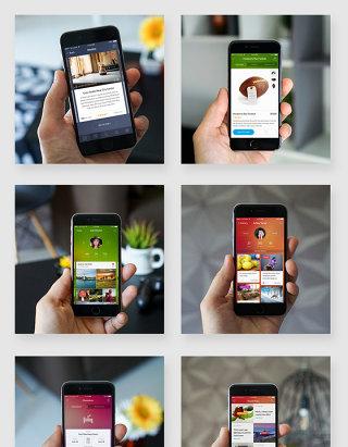 手持手机应用场景贴图样机素材