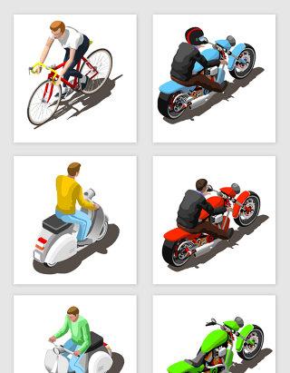 摩托车电动车自行车矢量素材