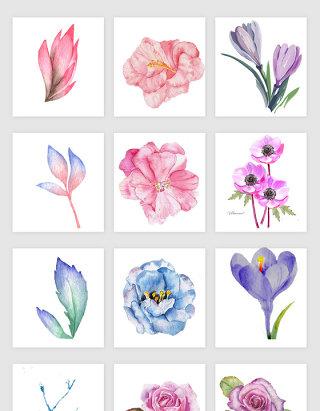 唯美手绘浪漫花卉矢量素材