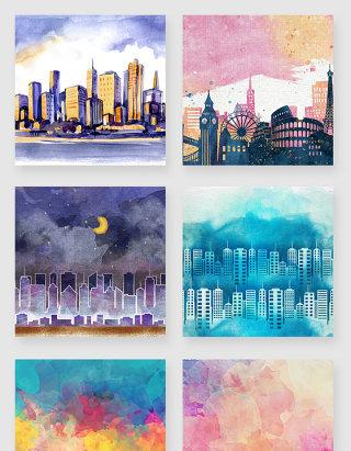 手绘水彩水墨城市美景插画元素